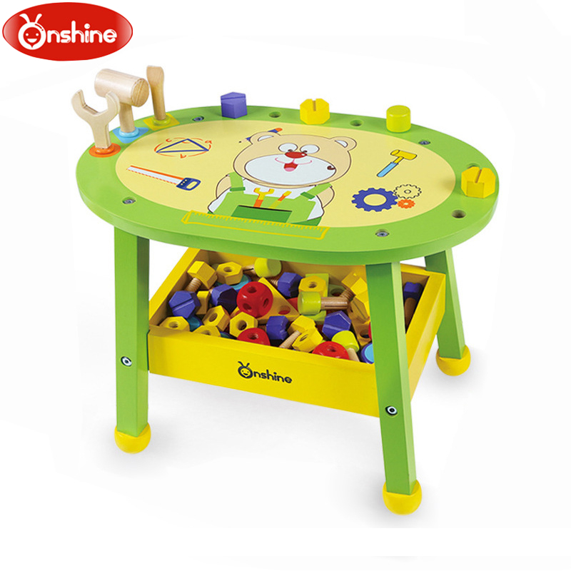 Children Artificial Maintenance Tool Stand Bady Play House Nut Building Blocks Assembly Wooden Table Toys new arrival nut assembly tool box 68pcs baby wooden toys child educational garden tool toys nut combination chirstmas gift