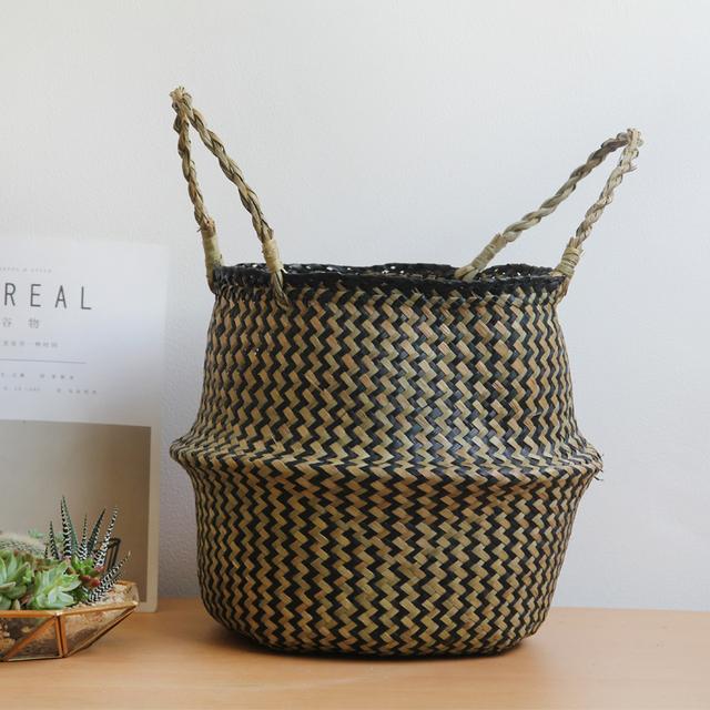 Handmade Decorative Storage Basket – Woven Black