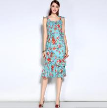 France style sweet girl floral print dress 2017 spring/summer Runway blue sleeveless dress fashion ladies rose print Sundress