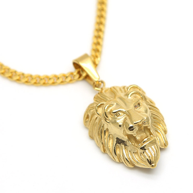 15263a9648042 Lion Head pendants necklace High Quality Fashion Hiphop 70cm long Gold  Plated Rock statement necklace Gold