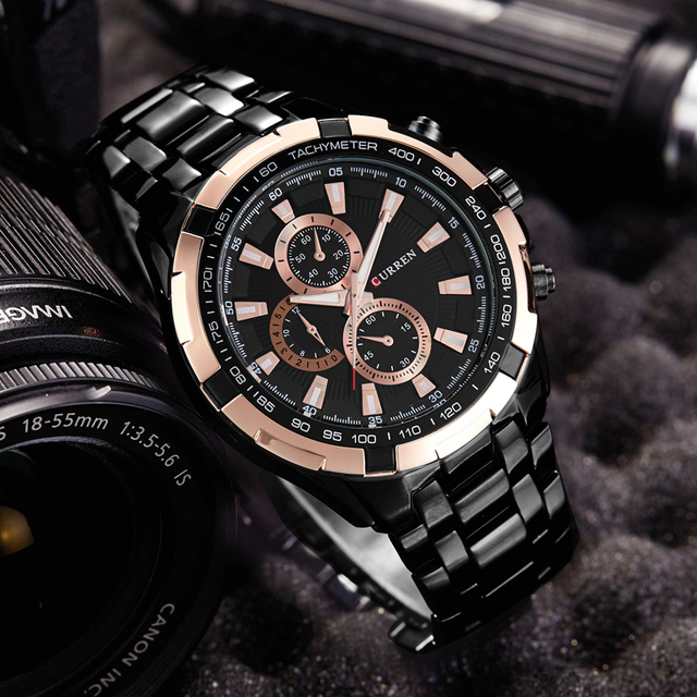 Fashion Curren Brand Man quartz full stainless steel Watch Casual Military Men's Dress Wristwatch 3ATM waterproof Gentleman 2017