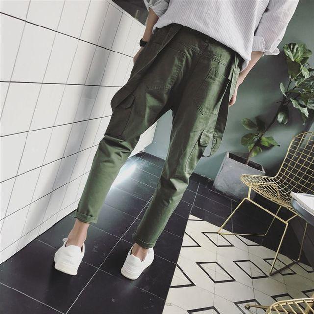 2019 Spring Men's Suspenders Harem pants Ankle Length Hip Hop pocket jean jumpsuits Male slim fit Tooling Overalls A53005 5