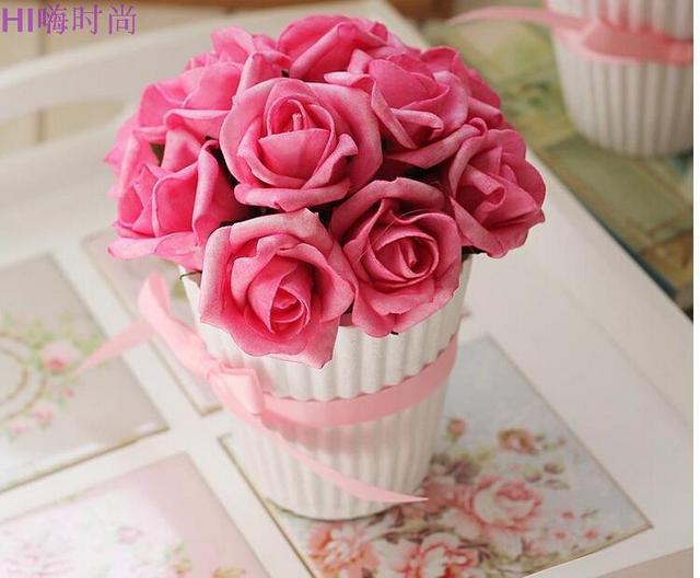 1 Pc rosa Artificial falso flor de seda Bonsai decoração de casamento H2215