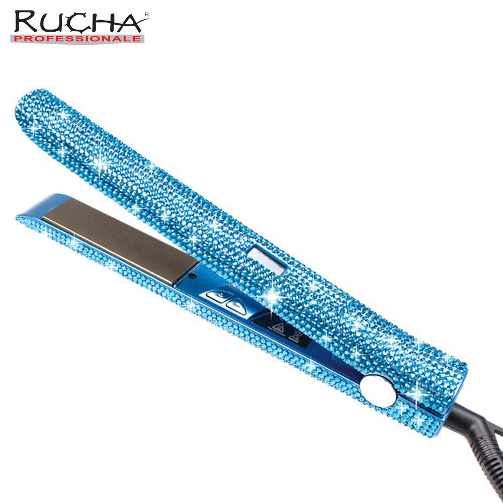 Rucha Rhinestones Handmade 470F Hair Straightener with MCH Fast Heating Electric Titanium Flat Iron as Hair Styling Tools Gift 445f lcd digital hair flat iron ceramic mch fast heating hair straightener high end professional hair styling tools
