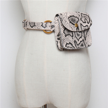 Vintage Waist Bag For Women Fashion Serpentine Waist Pack Female Bum Belt Bags Alligator Leather Fanny Packs Travel Belt Wallets