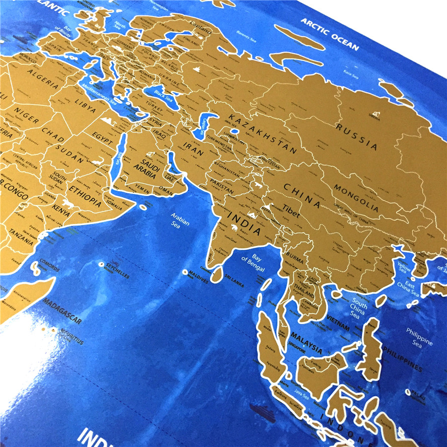 Deluxe Scratch gold Blue Vintage world map retro wall art sign ...