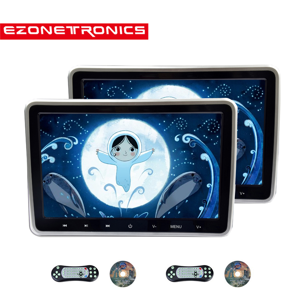 10.1inch Car Monitor Headrest DVD Player USB/SD/HDMI/IR/FM TFT LCD Screen Touch Button Game Remote Control stereo Video 1or2PCS