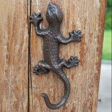 European Vintage Rustic Iron Accents Gecko Wall Lizard Design Home Garden Decor Cast Iron Wall Hook
