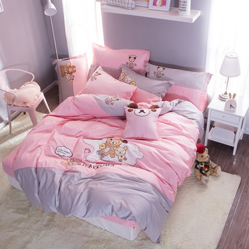 Pink Cartoon Small Bear Applique Embroidery 100% Cotton Bedding set Duvet Cover Bed sheet Bed Linen Pillowcases Gift For Child