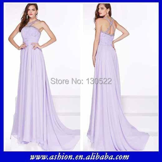 Free Shipping ED-2156 Beaded ligh lilac flowing chiffon the most beautiful  evening dress 20015 beautiful dubai evening dresses 1e43c69e3