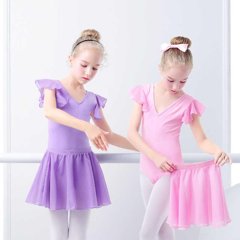 Niñas Ballet vestido gimnasia leotardo manga corta falda ropa de Ballet Ropa de baile con faldas de gasa