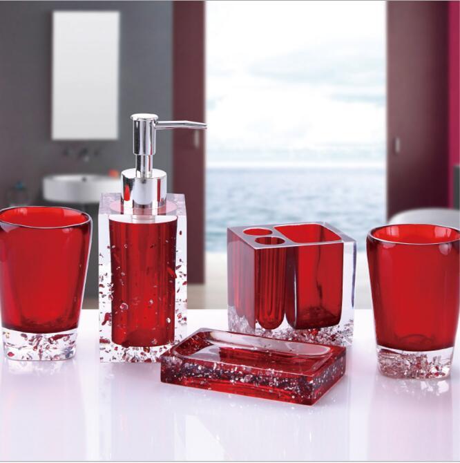 Haut de gamme résine salle de bains série salle de bain ensemble accessoires glace cristal diamant savon plat tasse Lotion bouteille lavage tasse cadeau de mariage - 2