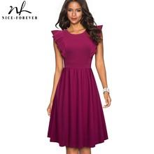 Nizza sempre Elegante Retro di colore Puro Del Manicotto Dellincrespatura abiti di Affari Del Partito Femminile Delle Donne Altalena Flare Dress btyA143