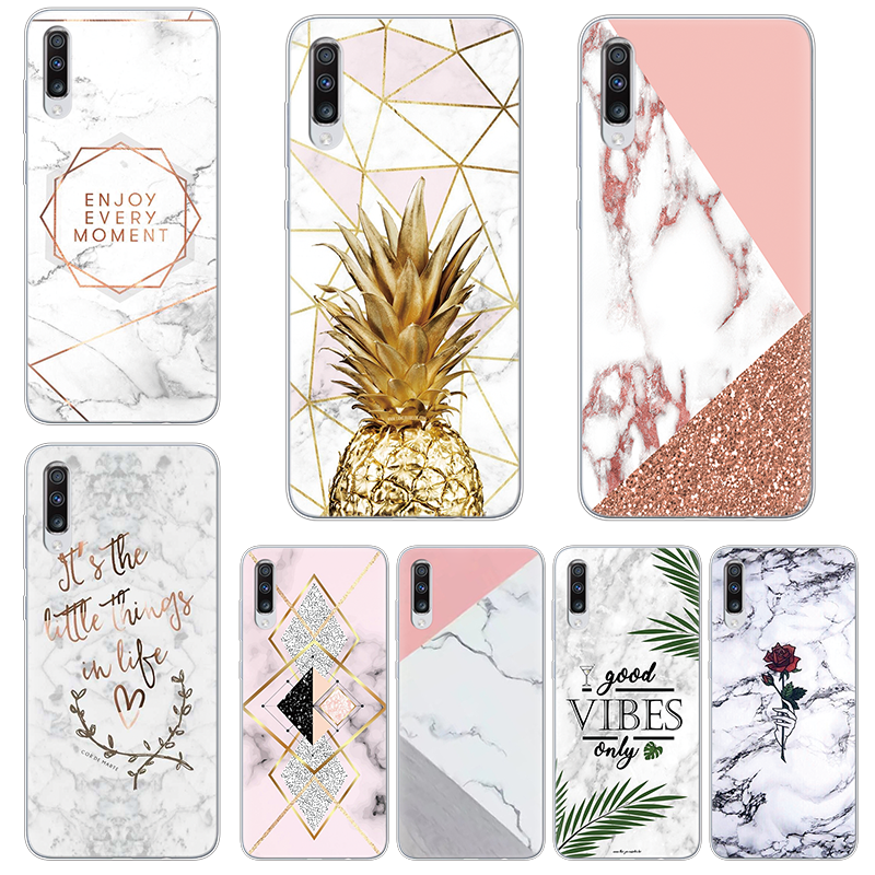 "Capa For Samsung Galaxy A70 Case 6.7"" Silicone Marble Geometry Soft TPU Cover For Samsung Galaxy A70 2019 A 70 A705 A705F Coque"