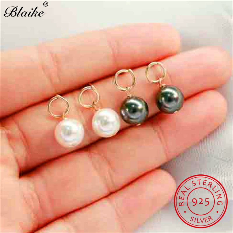 Blaike Pearl-Earrings 925-Sterling-Silver Minimalist White Black Small Cute Women