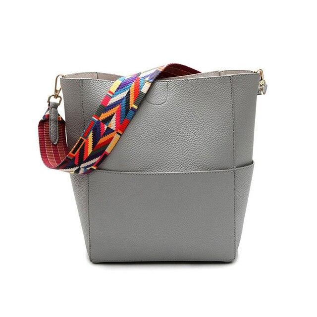 c9db77610854 Luxury Brand Designer Bucket bag Women Leather Wide Color Strap Shoulder  bag Handbag Large Capacity Crossbody bag For Shopping