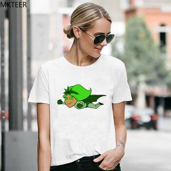 Camiseta Vogue verde de Superwoman Magic para mujer, camiseta Harajuku con cuello redondo, divertida camiseta blanca de manga corta, camiseta de verano para mujer de talla grande