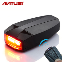 IPX5 Waterproof Bicycle Light Anti theft Alarm Horn Remote Wireless Bike Tail Light Rechargeable Cycle Lamp Rear Light For Bike