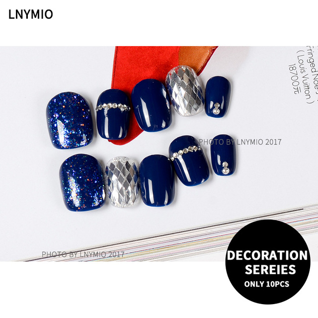 Silver color sequins fake nails short blue decoration nail tips-in ...