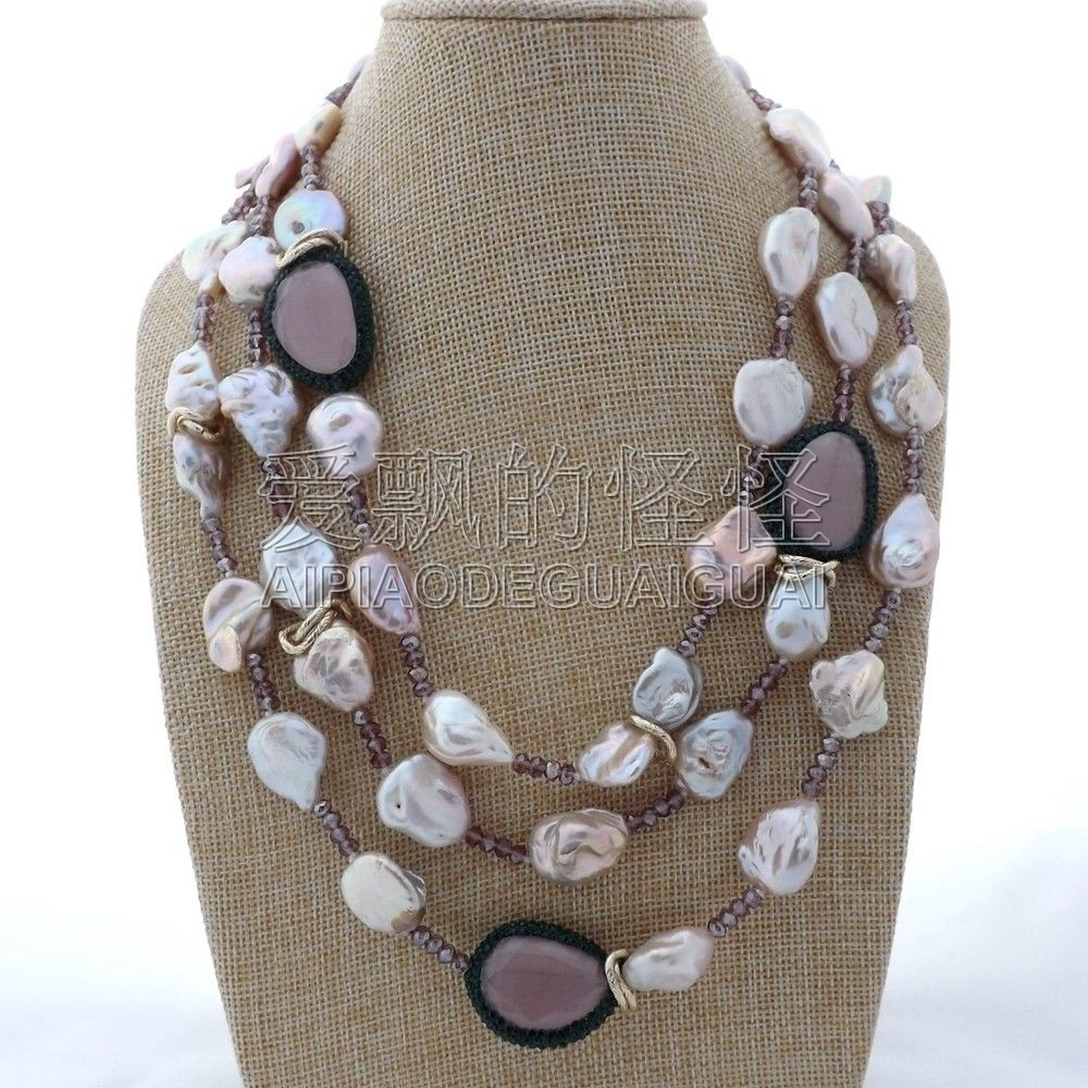 N112606 19'' 3 Strands Keshi Pearl Pink Cat Eye Crystal Necklace cat eye multilayer necklace