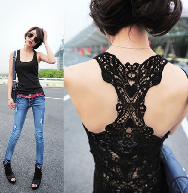 2013 new woman Back full hollow out crochet lace vest Sexy lady tops tank basic t shirt black&white&gray free size free shipping