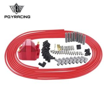 PQY - 10m/set Spark Plug Wires Spiral Core 8.5mm + 12V E-Core Ignition Coil For Chrysler Hemi Pro Stock For Ford Dodge Set