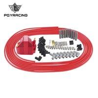Pqy-10 m/conjunto spark plug fios núcleo espiral 8.5mm + 12 v e-core bobina de ignição para chrysler hemi pro estoque para ford dodge conjunto