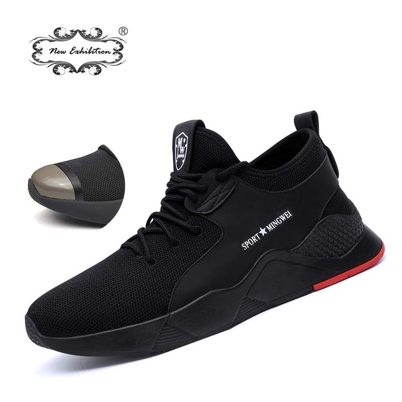New Exhibition 2019 Mens Fashion Safety Shoes Breathable  Light Widened Anti-smashing Steel Toe Work Boots Outdoor Sneaker 36-46