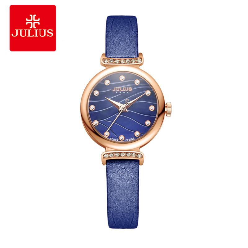 JULIUS Female Leather Wrist Watch Fashion Brand Luxury Crystal Gold Watches Women Super Slim Festival Gift Elegance Watch JA-875