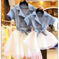 Mother Daughter Dresses Family Matching Outfits Denim Lace Tutu Family Look Matching Clothes Mom Daughter Dress Drop Shipping
