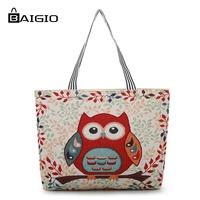Baigio 2018 Canvas Tote Bag Modernstree Embroidery Owl Print Shopping Bag Muti Color School Bag Big