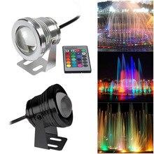 Светодиодный подводный прожектор с дистанционным управлением 10 Вт DC12V RGB лампа для ландшафтного сада фонтан Пруд IP68 водонепроницаемое наружное освещение