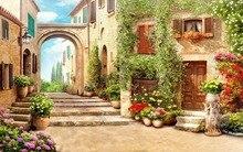 Custom Photo Wallpaper 3D Cobbled Castle Landscape TV Background Wall Mural