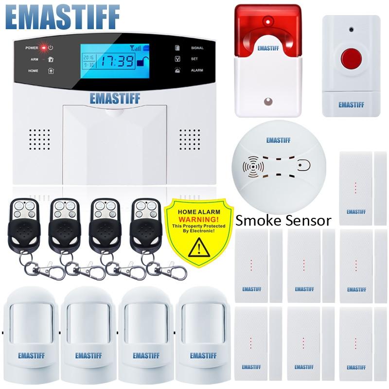 NUOVO Built-In antenna Porta Gap Sensore PIR Rivelatore di Movimento Senza Fili LCD scheda SIM GSM Casa sistema di Allarme di sicurezza Fumo Flash Siren
