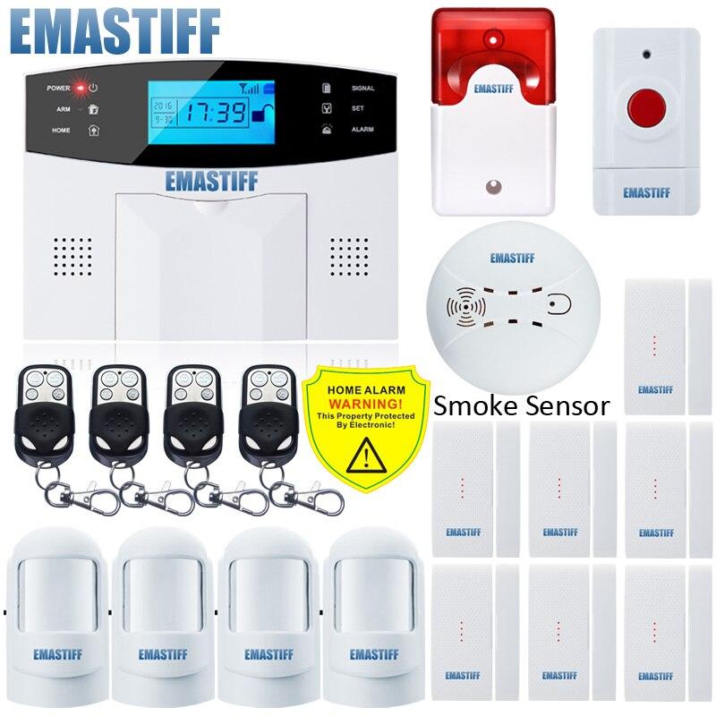 Nueva antena incorporada sensor de puerta PIR detector de movimiento inalámbrico LCD GSM tarjeta SIM seguridad sistema humo flash sirena