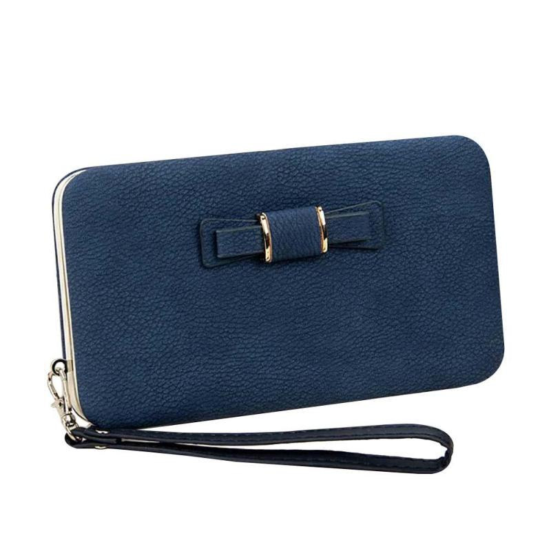 Fashion Women Bow Purse Wallet Female Famous Brand PU Leather Card Holders Cellphone Pocket Gifts For Women Money Bag Clutch wallet female famous brand long zipper women s wallets pu leather big dollar money bag lady purse with card coin pocket 500503