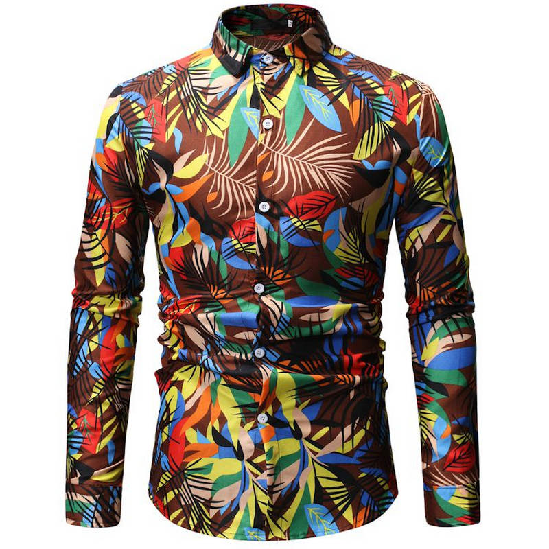 2019Mens Hawaiian Shirt Male Casual Camisa Masculina Printed Beach Shirts Long Sleeve Brand Clothing Free Shipping 26 Color