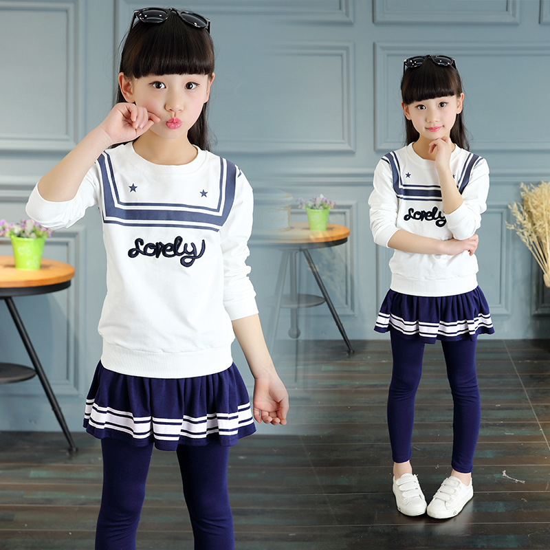 Children's Garment Spring And Autumn New Pattern Girl Korean Navy Wind Pure Long Sleeve Skirt Suit 2 Pieces Kids Clothing Sets 2016 spring new pattern korean children s garment girl baby lace back will bow dress girl jacket