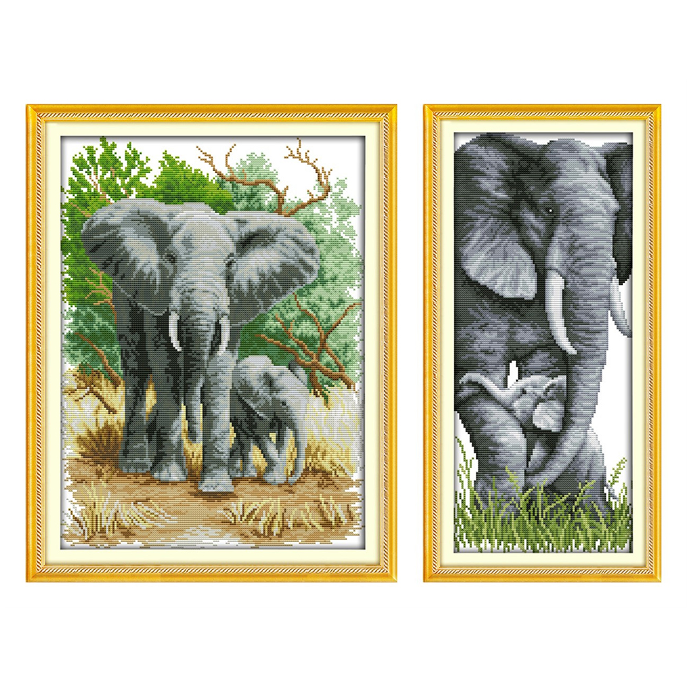 The elephant mother and son Chinese cross stitch kits Ecological cotton stamped 14CT 11CT DIY gift wedding decoration for home