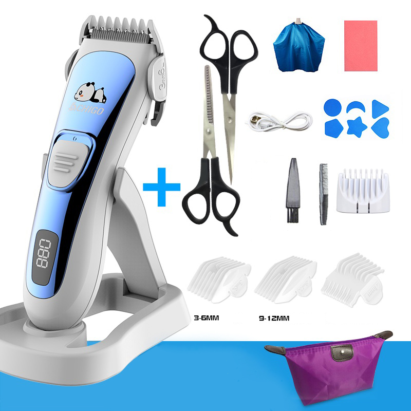 Baby Hair Clipper Ultra-quiet Rechargeable Trimmer For Hair Cutting Foldable Base Wash By Water Hair Clipper For Children