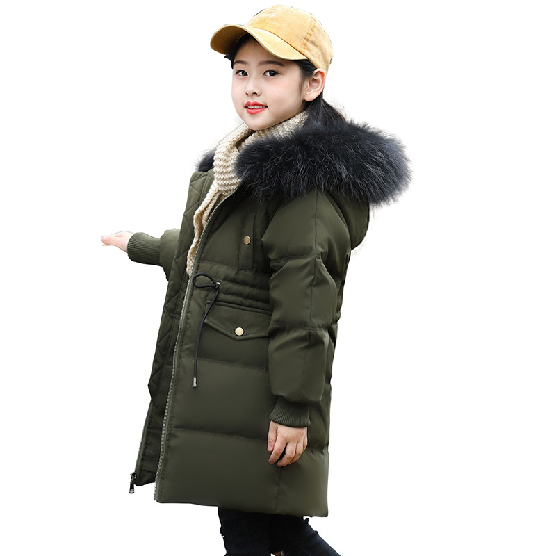Children Thickening Down Coat Kids Hooded Warm Outerwear With Pocket Girls Fashion Fur Collar Comfortable Down Overcoat AA51885 open front side pocket hooded coat