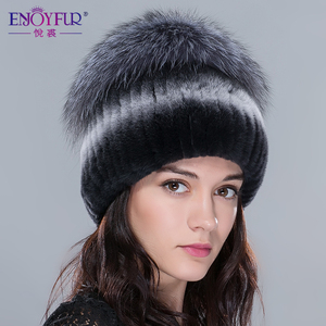 Image 5 - Женские меховые шапки ENJOYFUR, вязаные шапки из натурального меха Рекс и кроличьего меха серебристой лисы на зиму