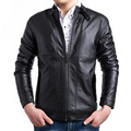 New Black Pu Leather Jacket Men Veste Cuir Homme 2015 Fashion Design Mens Slim Fit Motorcycle Biker Jacket Stylish Jaqueta Couro