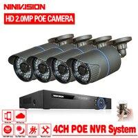 NINIVISION P2P 1080 P Full HD 4CH POE NVR 24 IR Gündüz gece Açık Su Geçirmez FTP Güvenlik 4 adet IP Kameralar Ev CCTV POE sistemi