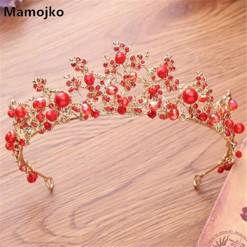 Mamojko Baroque Vintage Red Style Pearl Gold Crown For Women Fashion Bridal Dress Hair Accessory Brides Tiara Wedding