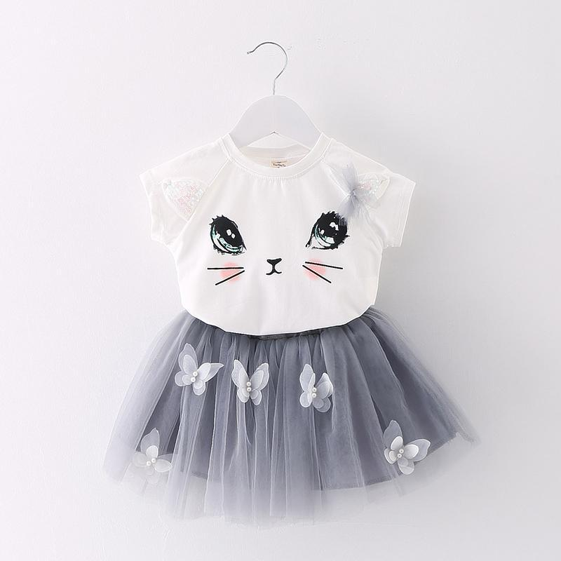 0-2 year old Summer baby girls dress embroidered printing Casual baby dress one size 2 piece baby girls sets baby girl clothes