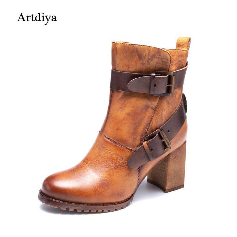 Artdiya Original New Retro Thick Heels High Heels Women Boots Genuine Leather Handmade Martin Boots Belt Buckle Ankle Boots цены онлайн