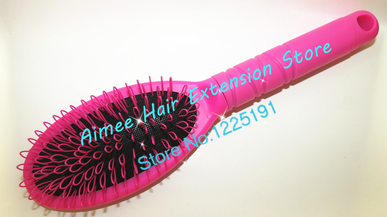 2pcs Pink Plastic loop comb for hair extensions professional easy brush wavy hair salon tools princess kates secret ...