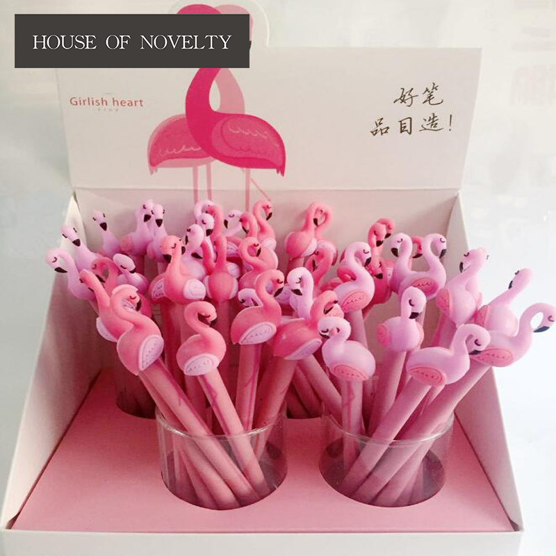 4 pcs/lot 0.5 mm Lucky Pink Flamingo Gel Pen Promotional Gift Stationery School & Office Supply