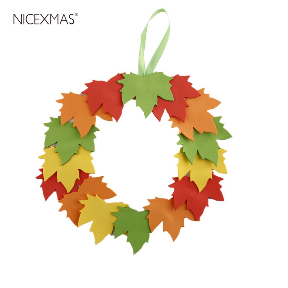 DIY Crafting Accessories Materials Set Handmade EVA Leaf Wreath Hanging Decorations Kids Educational Toys